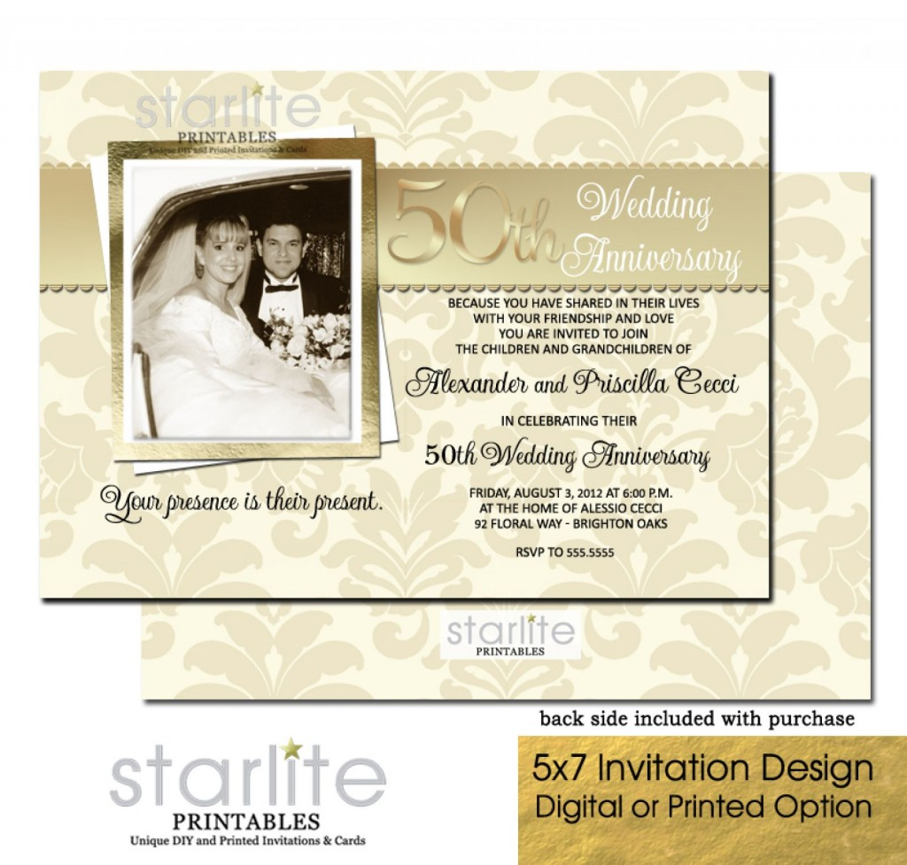 007 Impressive 50th Wedding Anniversary Invitation Design Example  Designs Wording Sample Card Template Free DownloadLarge