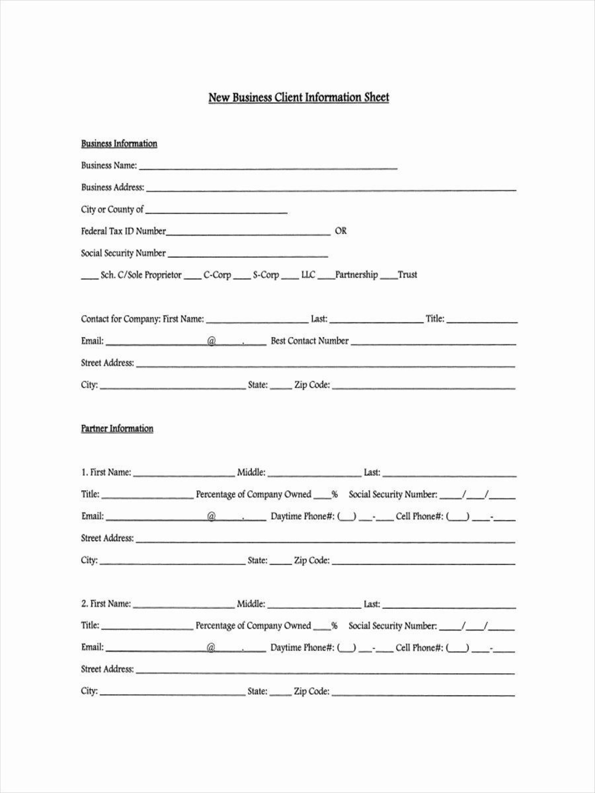007 Impressive Client Info Form Template Example  Free Photography Information Download1920