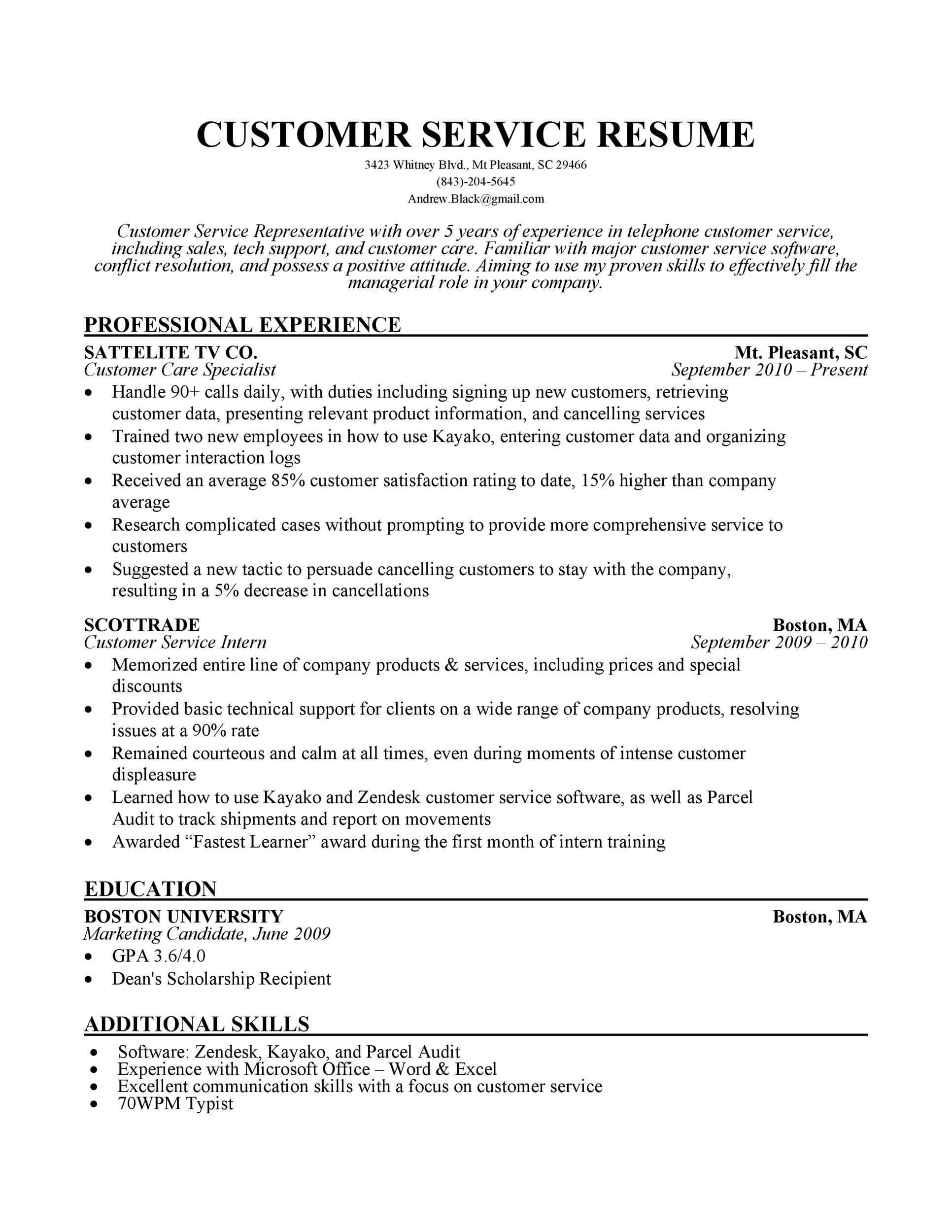 007 Impressive Customer Service Resume Template Idea  CvFull