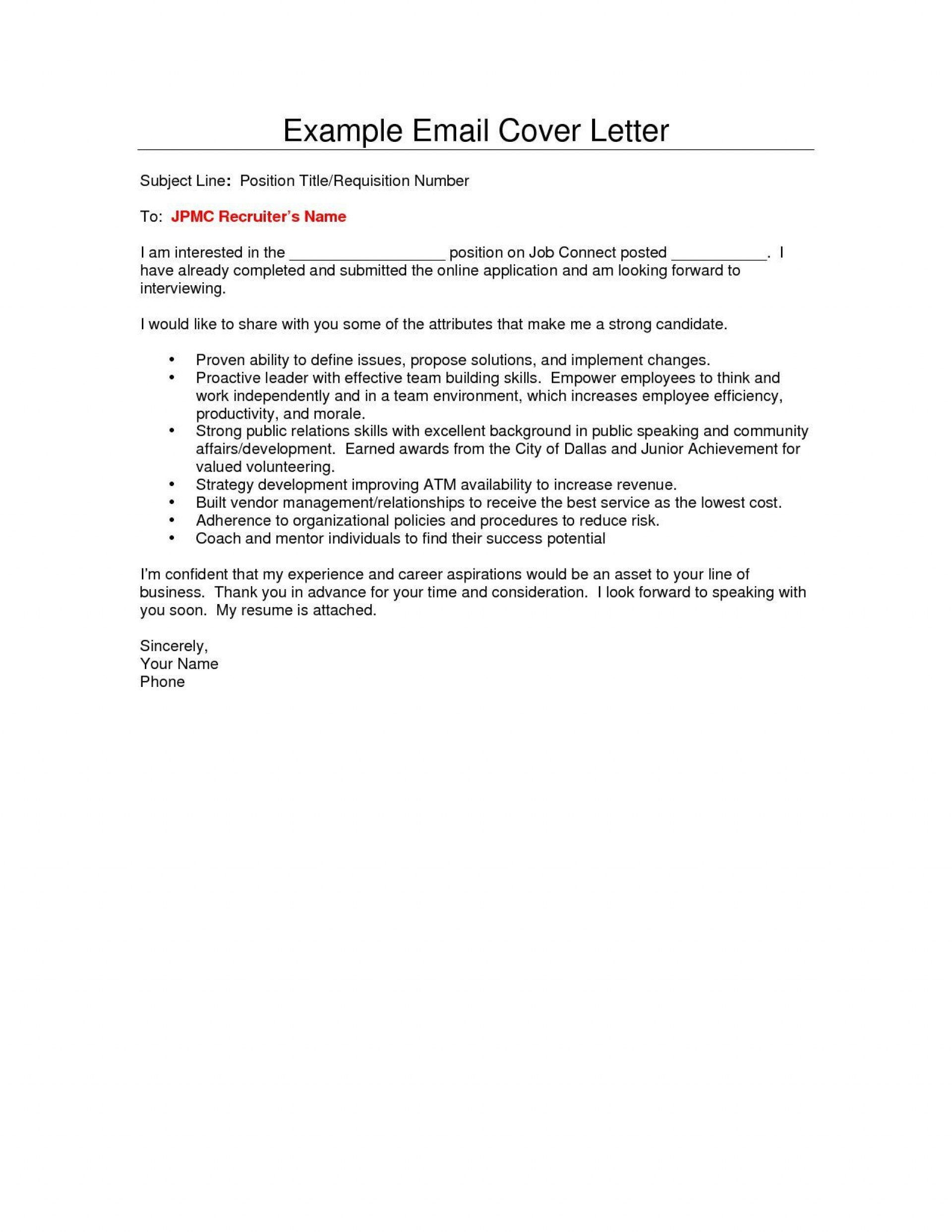 007 Impressive Email Cover Letter Example For Resume Picture  Sample Through Attached1920