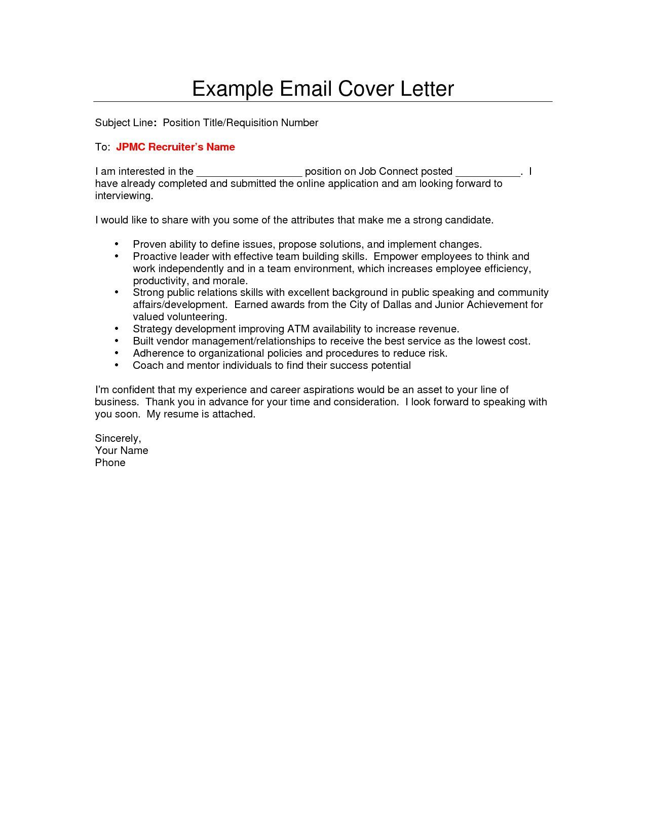 007 Impressive Email Cover Letter Example For Resume Picture  Sample Through AttachedFull