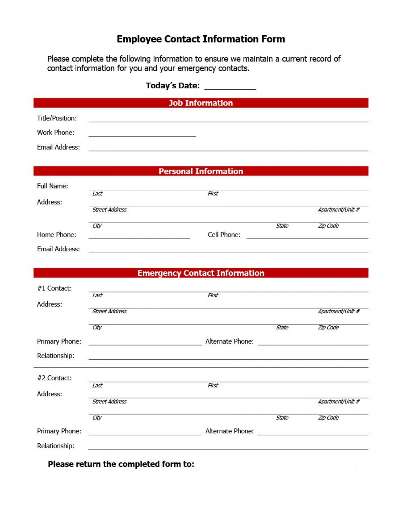 007 Impressive Employee Emergency Contact Form Template Photo  Free1400
