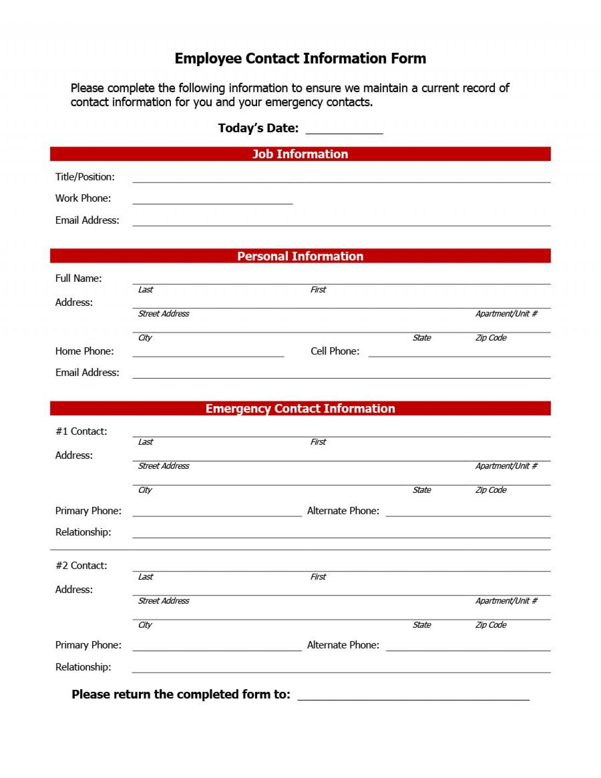 007 Impressive Employee Emergency Contact Form Template Photo  Free1920