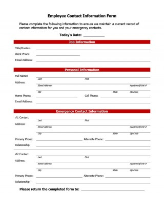 007 Impressive Employee Emergency Contact Form Template Photo  Free320
