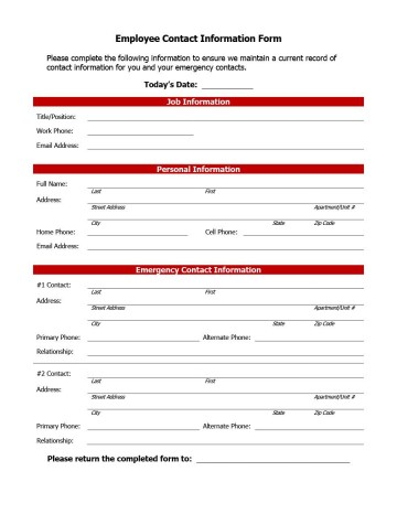 007 Impressive Employee Emergency Contact Form Template Photo  Free360