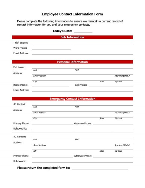 007 Impressive Employee Emergency Contact Form Template Photo  Free480