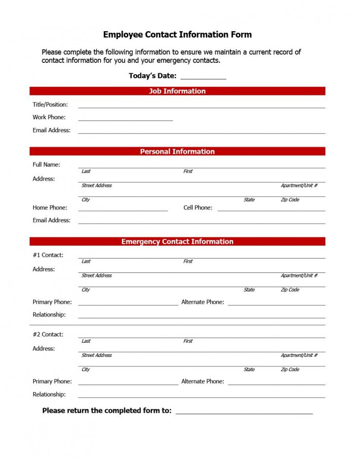 007 Impressive Employee Emergency Contact Form Template Photo  Free728