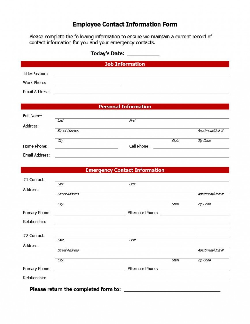 007 Impressive Employee Emergency Contact Form Template Photo  Free868
