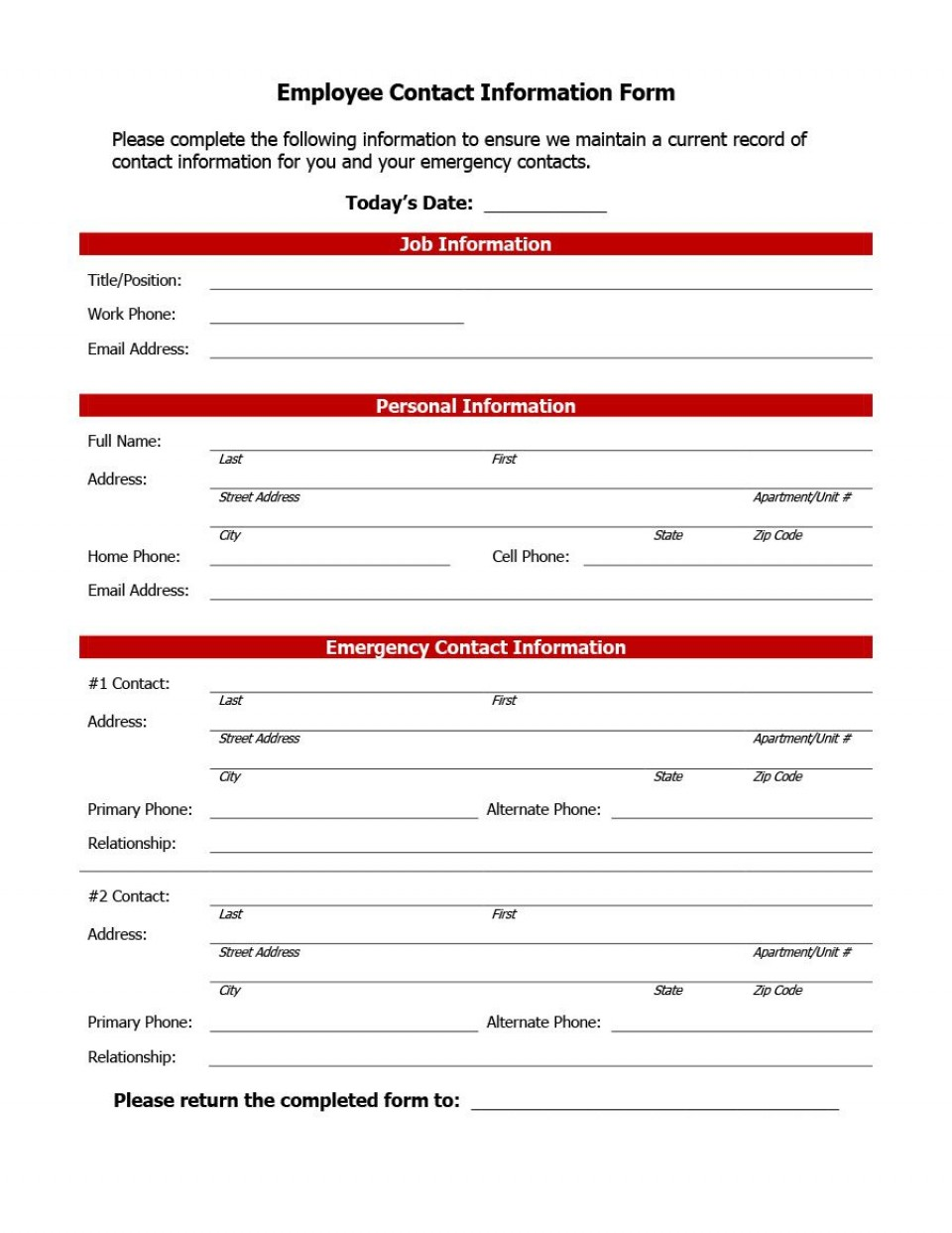 007 Impressive Employee Emergency Contact Form Template Photo  Free960