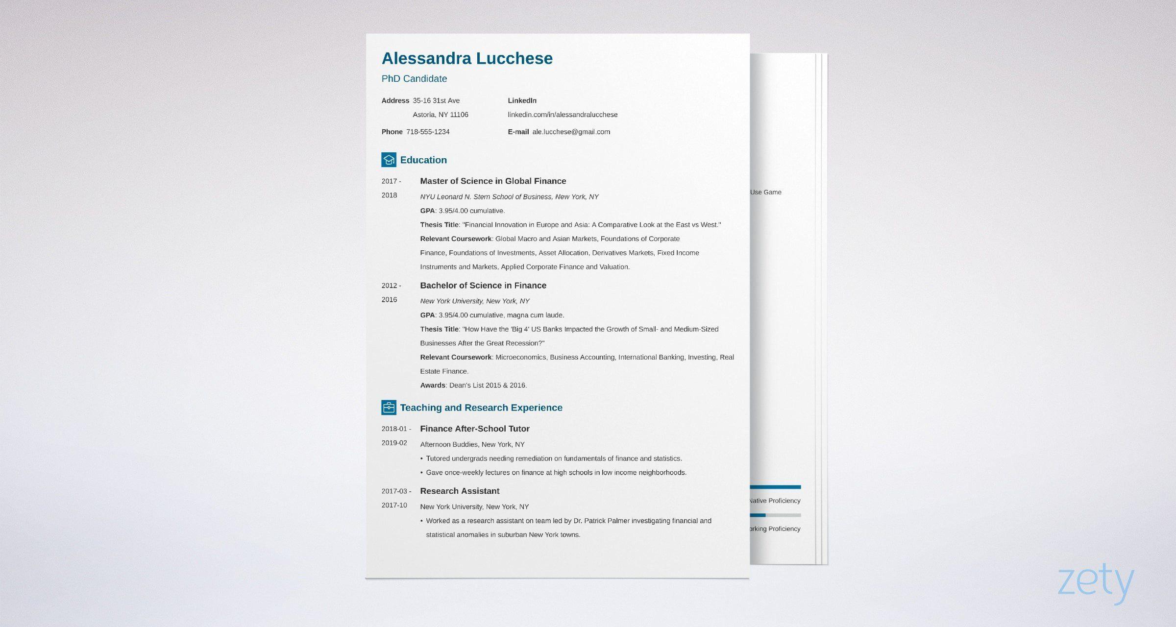 007 Impressive Grad School Resume Template Example  Application Cv Graduate For AdmissionFull
