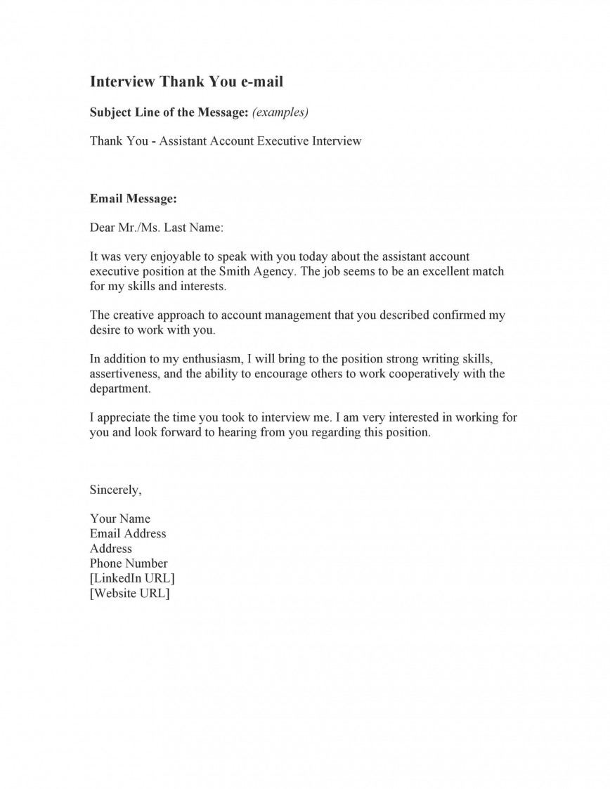 007 Impressive Interview Thank You Email Template High Resolution  Sample Simple Letter After Subject Line Job