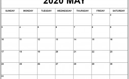 007 Impressive Monthly Calendar Template 2020 Image  Editable Free Word Excel May
