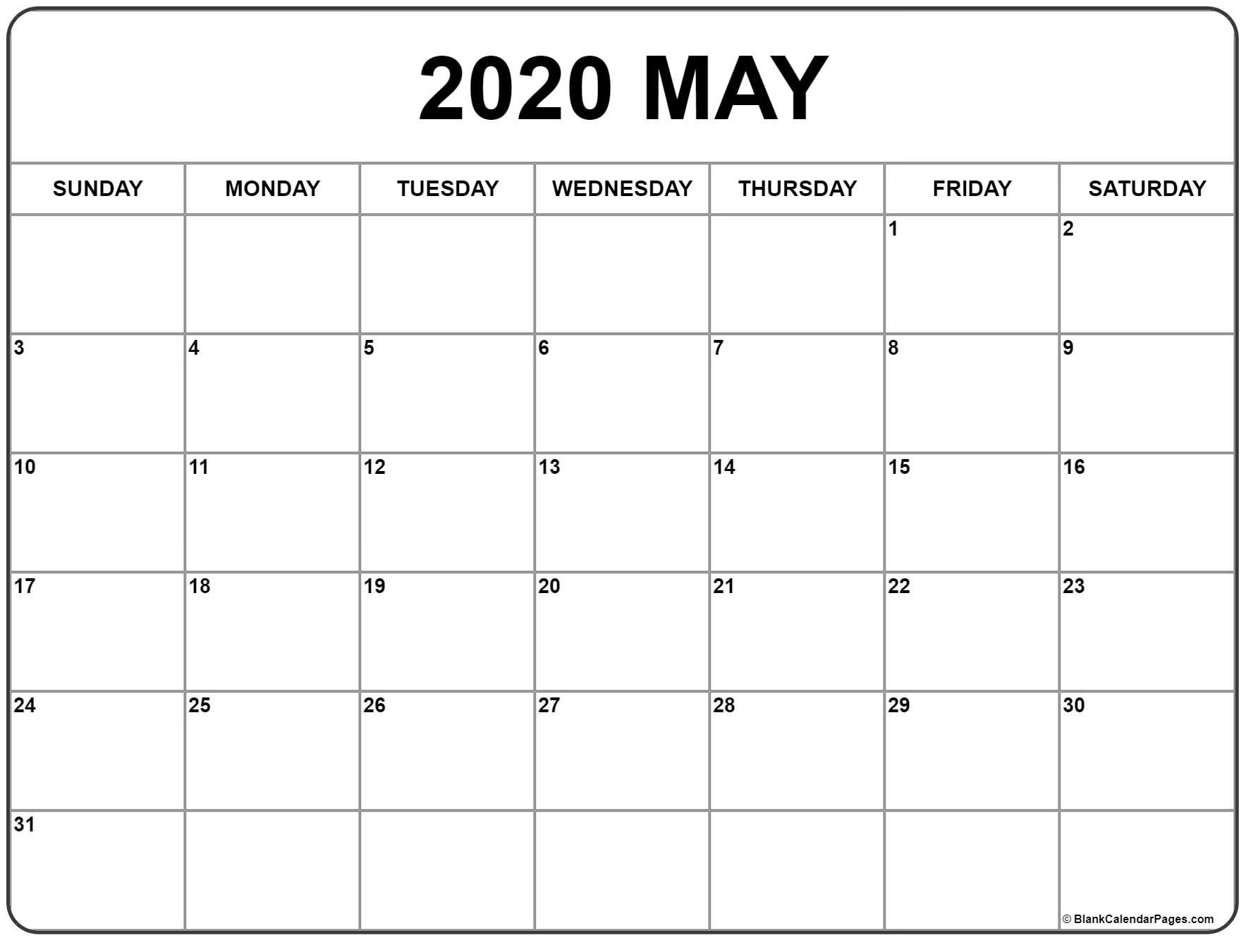 007 Impressive Monthly Calendar Template 2020 Image  Editable Free Word Excel MayFull
