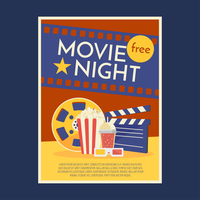 007 Impressive Movie Night Flyer Template Inspiration  Editable Psd FreeFull