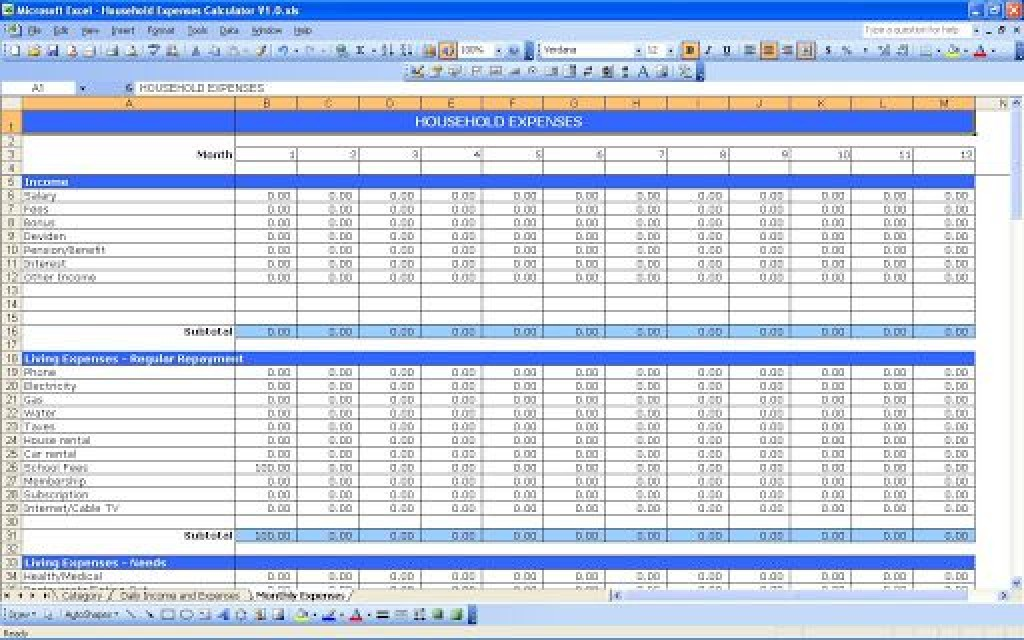 007 Impressive Personal Expense Spreadsheet Template Design  Monthly Budget Sheet Finance Uk ExcelLarge