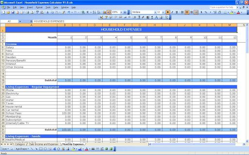 007 Impressive Personal Expense Spreadsheet Template Design  Monthly Budget Sheet Finance Uk ExcelFull