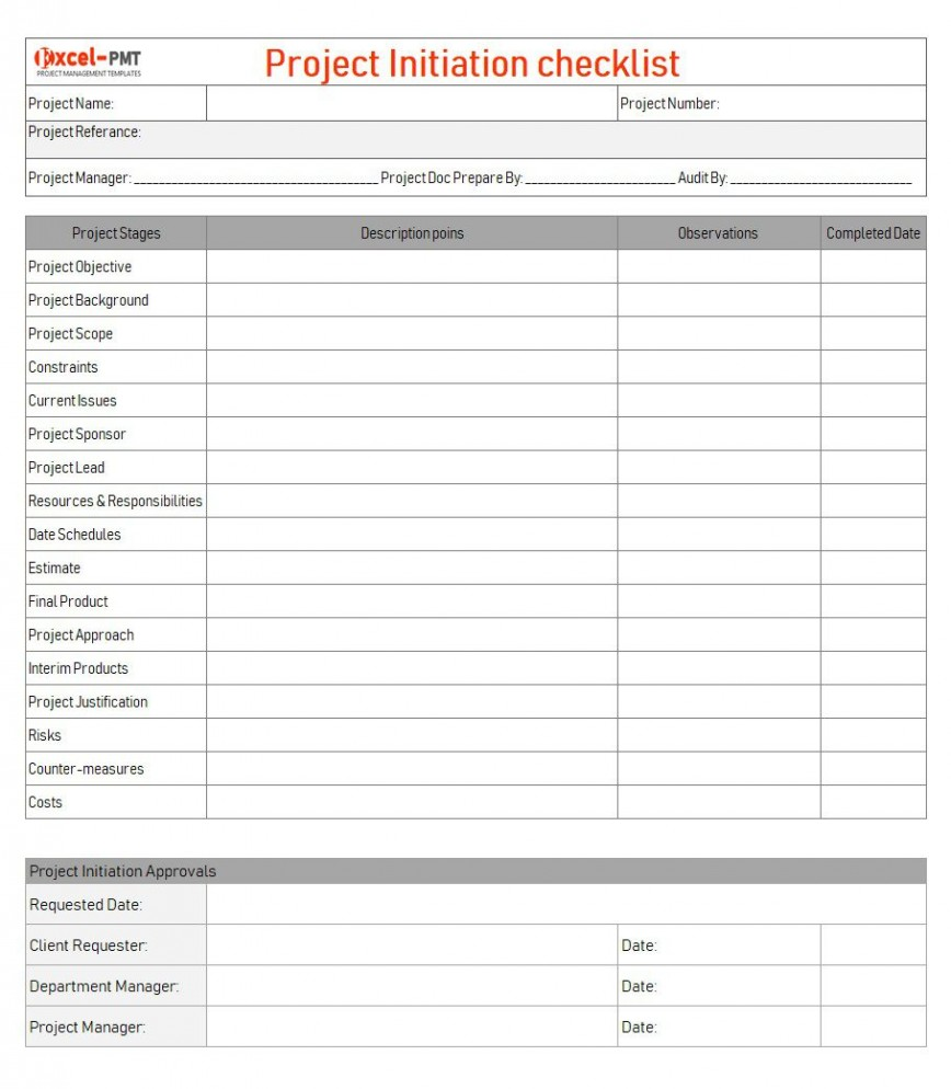 007 Impressive Project Management Checklist Template Inspiration  Audit Excel Simple