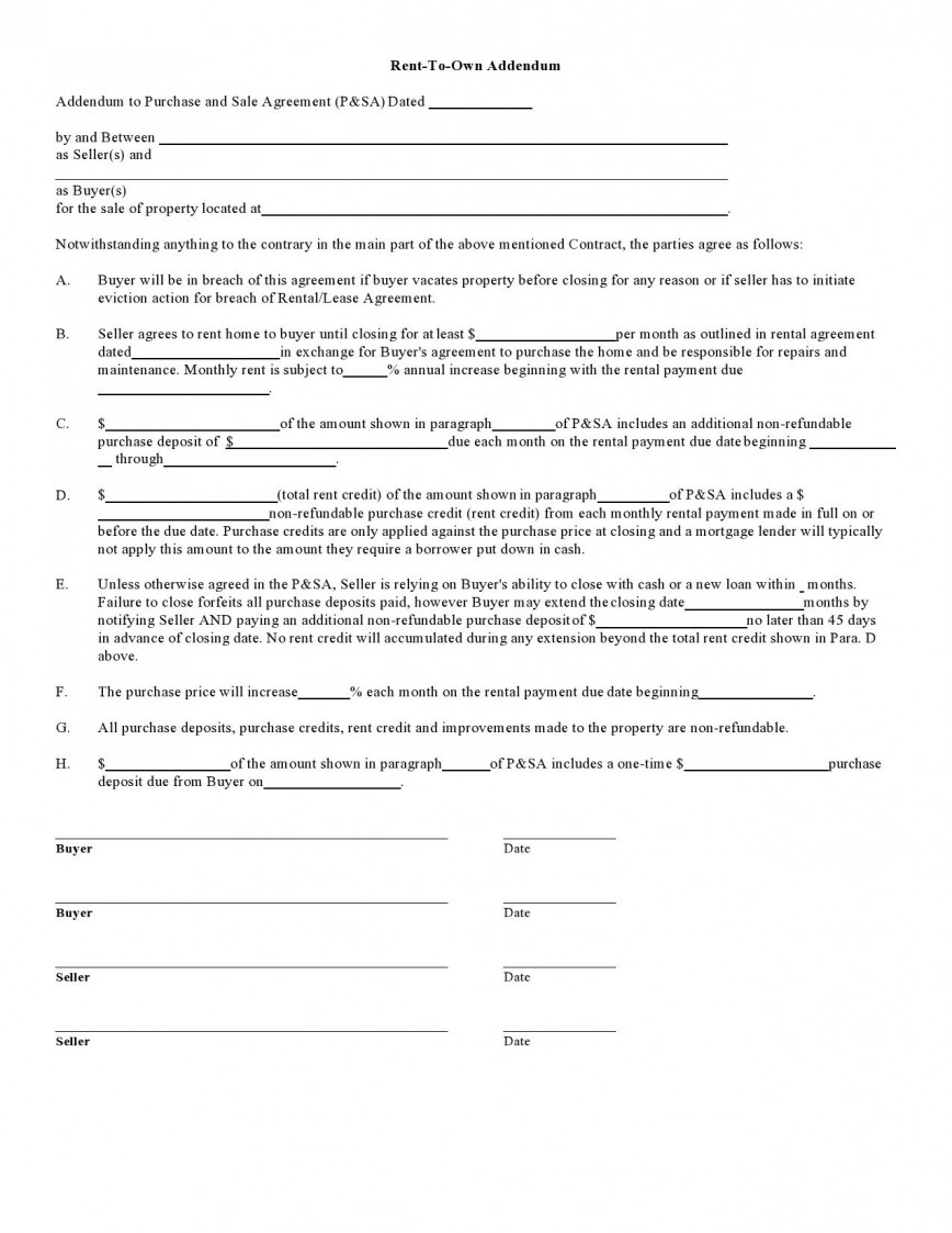 007 Impressive Rent To Own Contract Form Free Inspiration  Home Sample For House Pdf