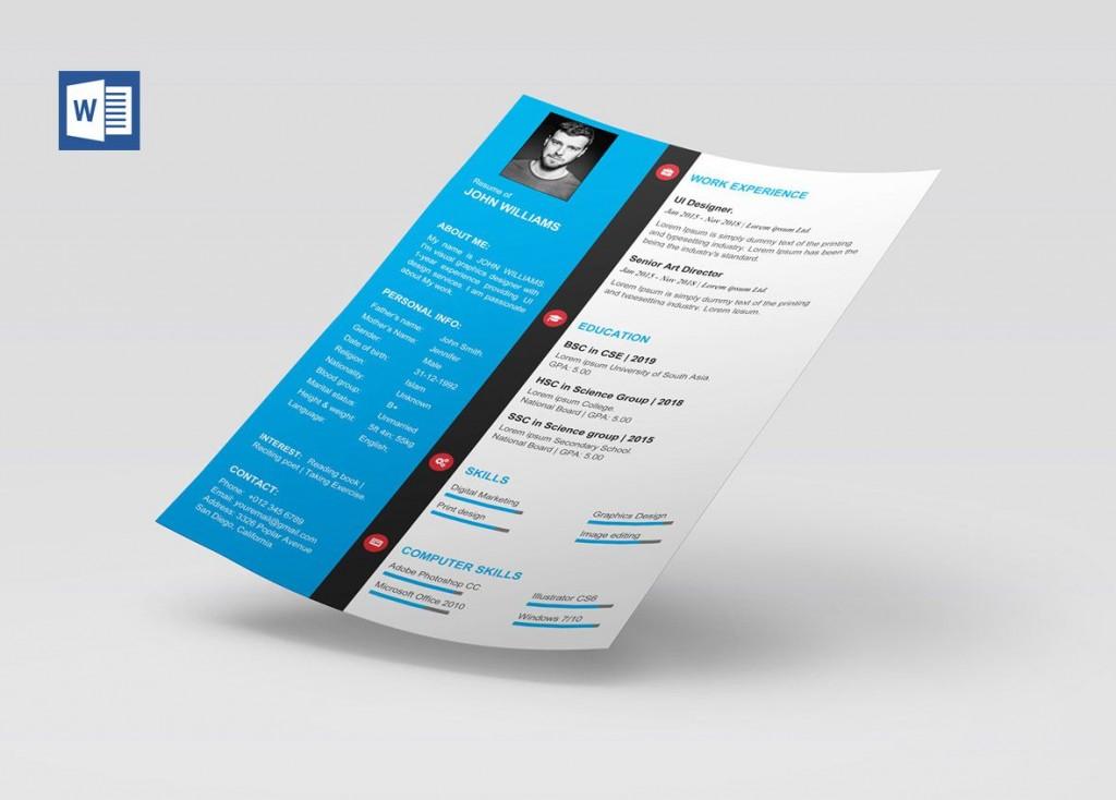 007 Impressive Resume Template Free Word Picture  Download Cv 2020 FormatLarge