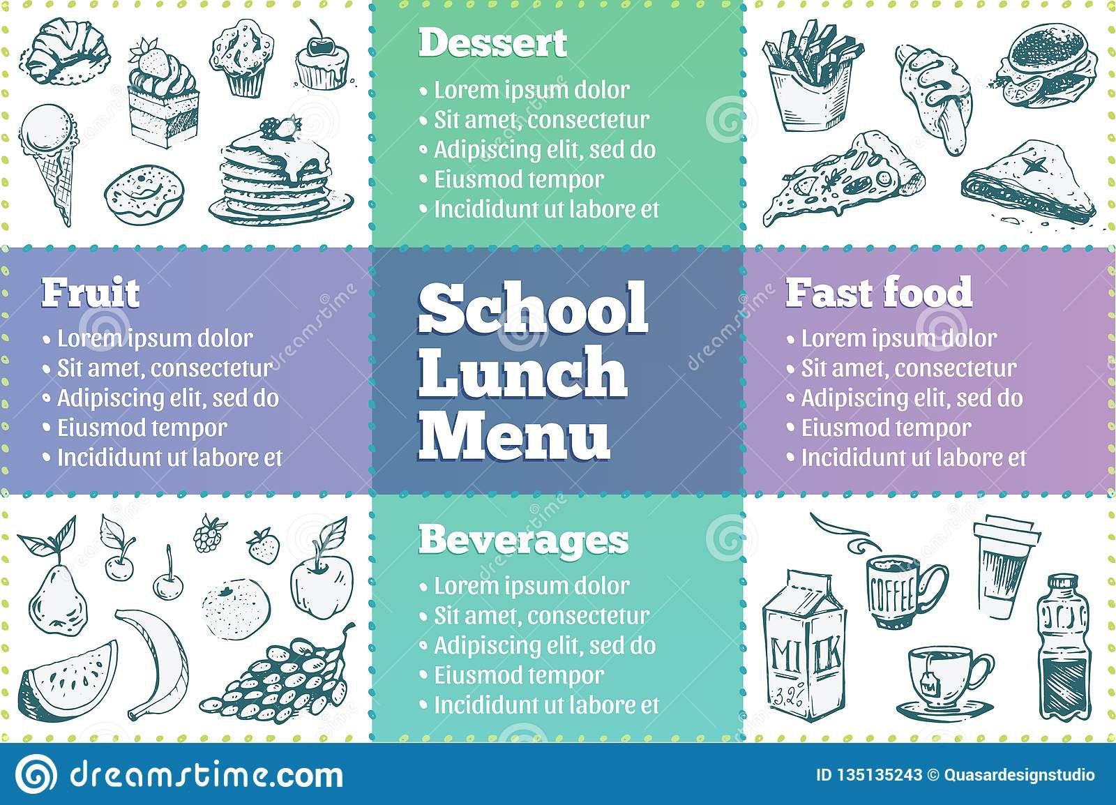 007 Impressive School Lunch Menu Template High Resolution  Monthly Free Printable BlankFull
