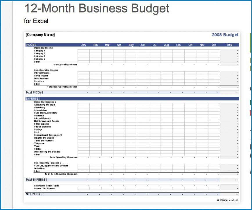 007 Impressive Small Busines Budget Template Photo  Free Download Excel