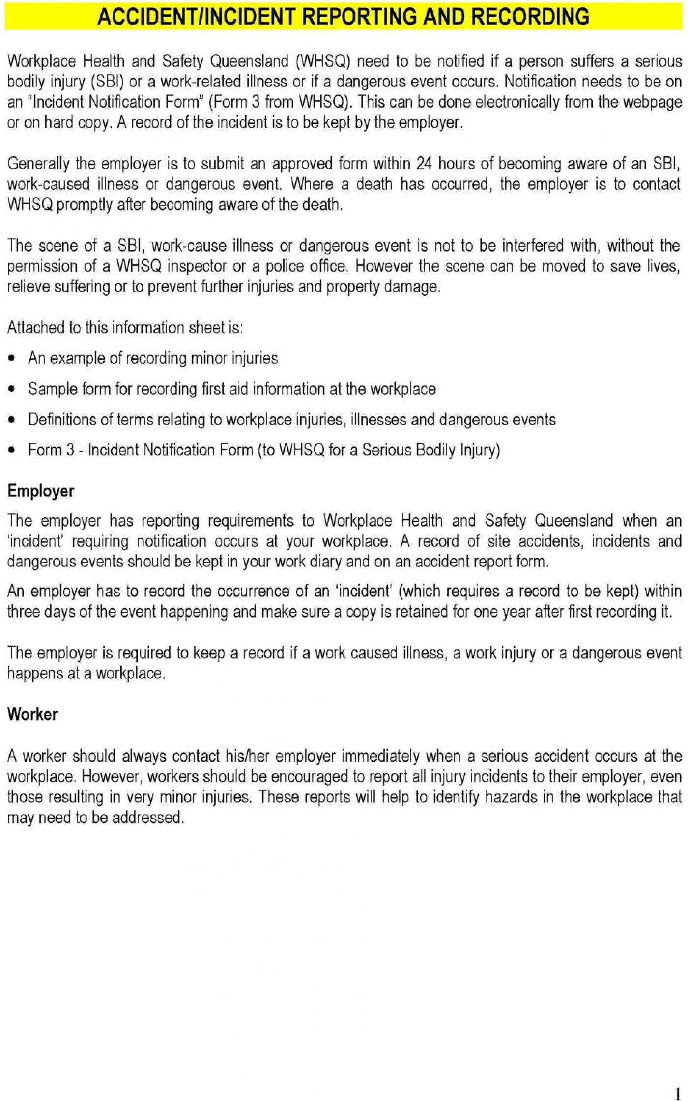 007 Impressive Workplace Incident Report Form Western Australia Idea 1400