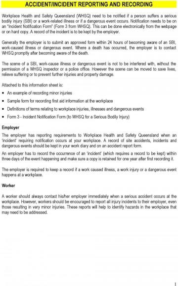 007 Impressive Workplace Incident Report Form Western Australia Idea 360