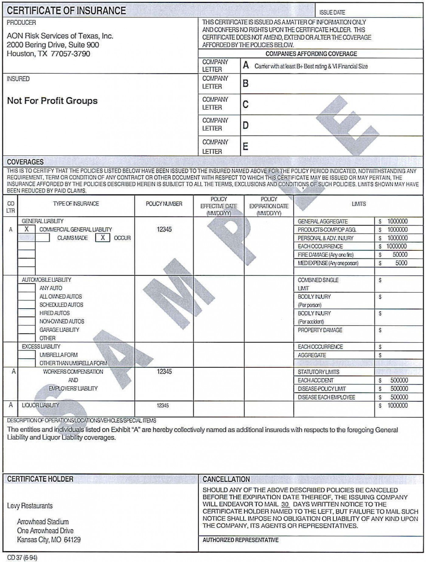007 Incredible Certificate Of Insurance Template Image  Sample Pdf Csio Tracking Acces1400
