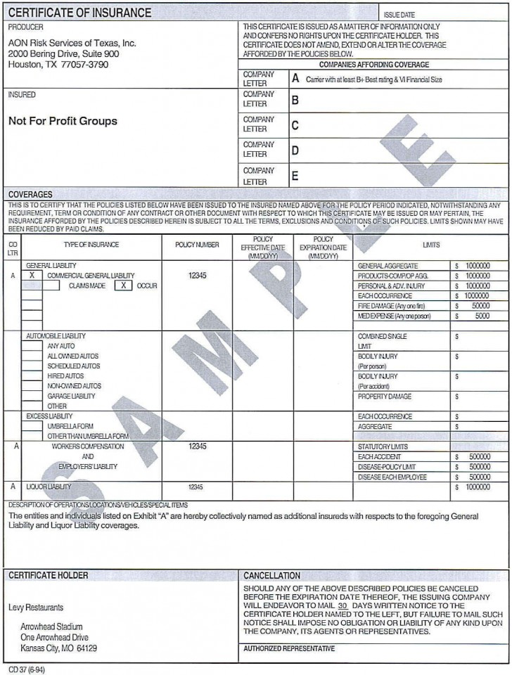 007 Incredible Certificate Of Insurance Template Image  Sample Pdf Csio Tracking Acces728