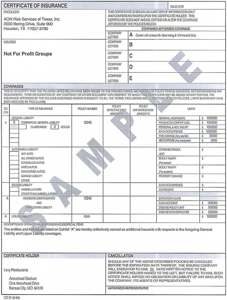 007 Incredible Certificate Of Insurance Template Image  Sample Pdf Csio Tracking Acces868