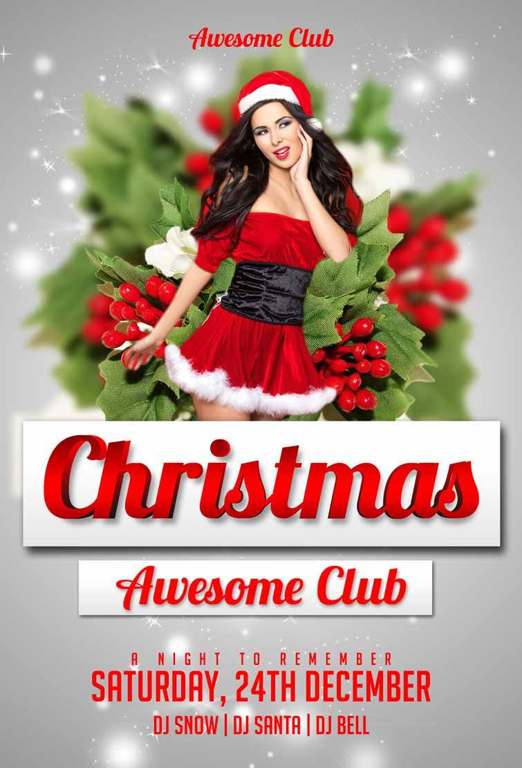 007 Incredible Christma Flyer Template Free Highest Quality  Party Invitation Psd DownloadFull