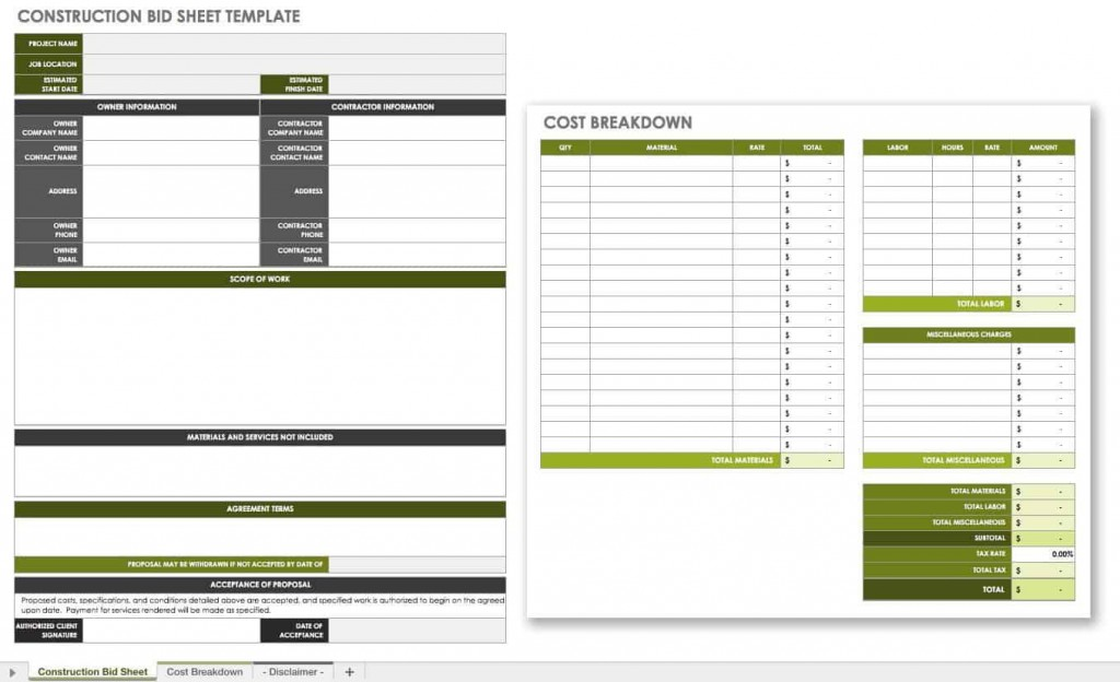 007 Incredible Construction Bid Template Free Excel Highest Quality Large