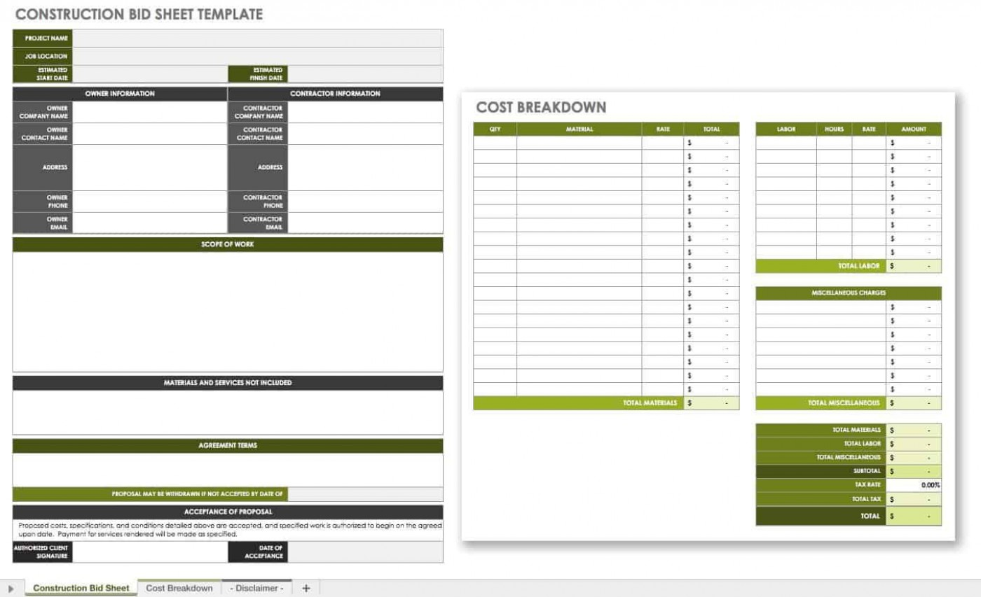 007 Incredible Construction Bid Template Free Excel Highest Quality 1400