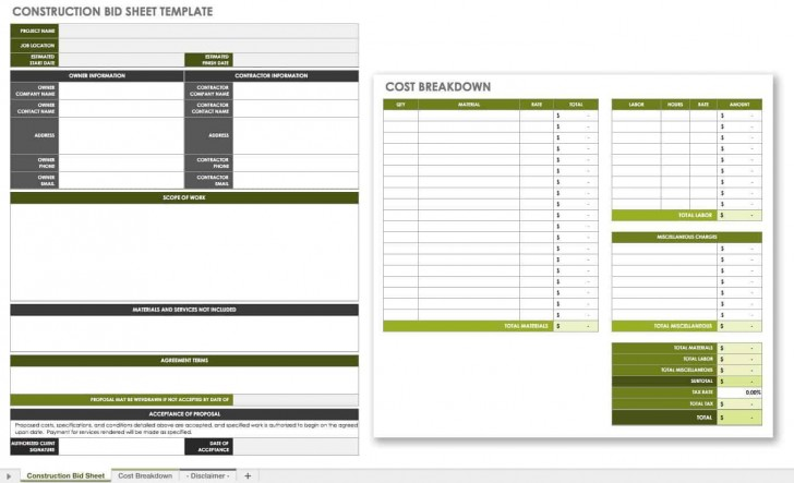 007 Incredible Construction Bid Template Free Excel Highest Quality 728