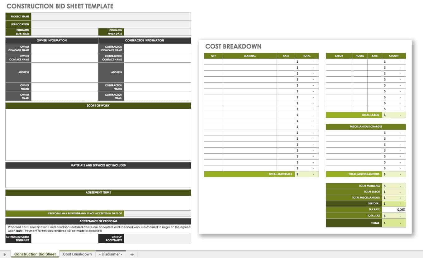 007 Incredible Construction Bid Template Free Excel Highest Quality Full