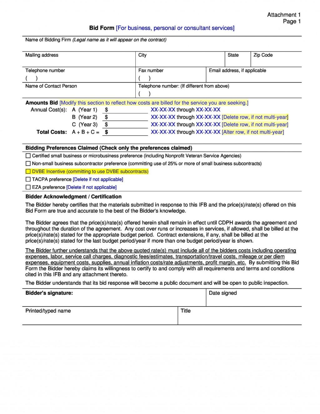 007 Incredible Free Bid Proposal Template Photo  Printable Form Word Construction DownloadLarge