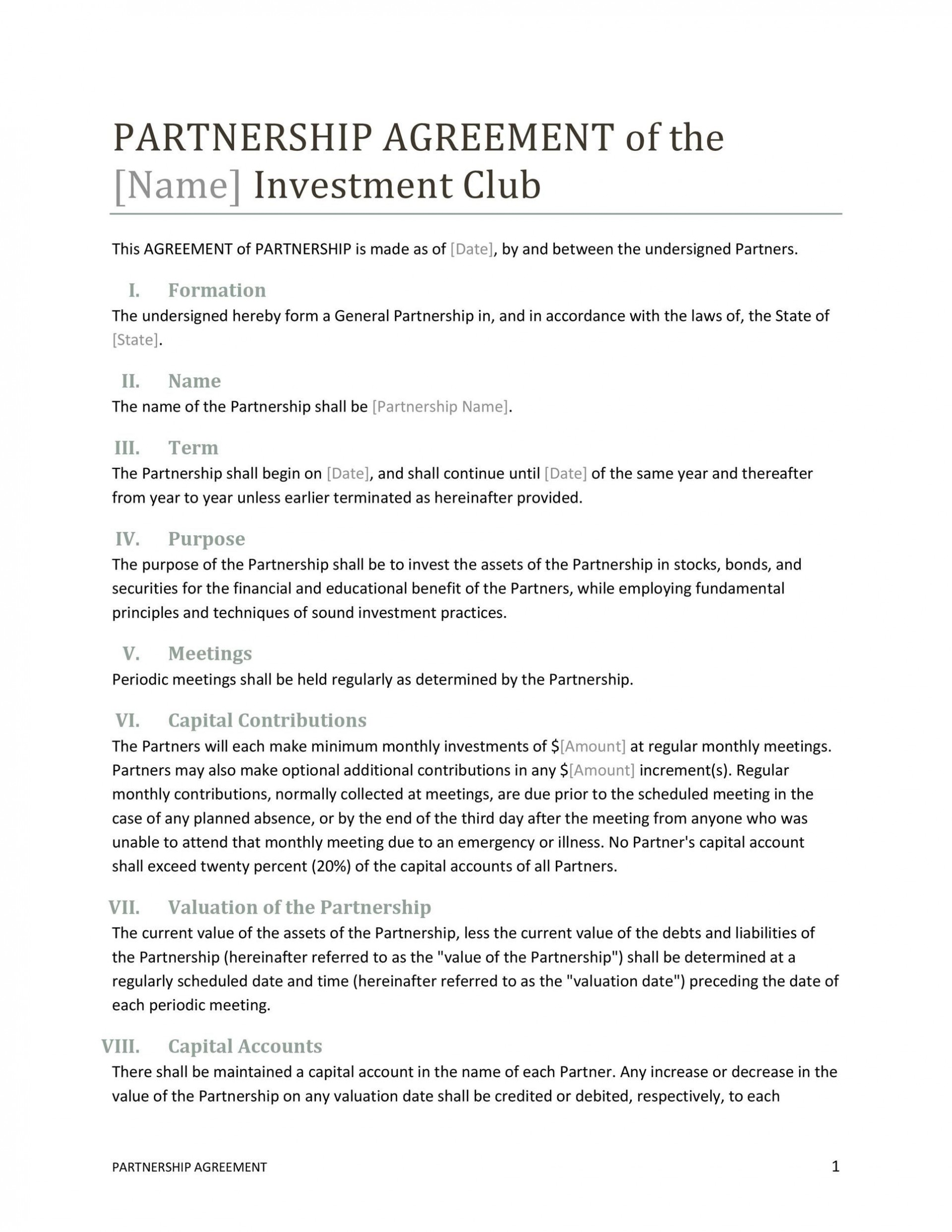 007 Incredible Free Partnership Agreement Template Highest Quality  Uk Malaysia Llp1920