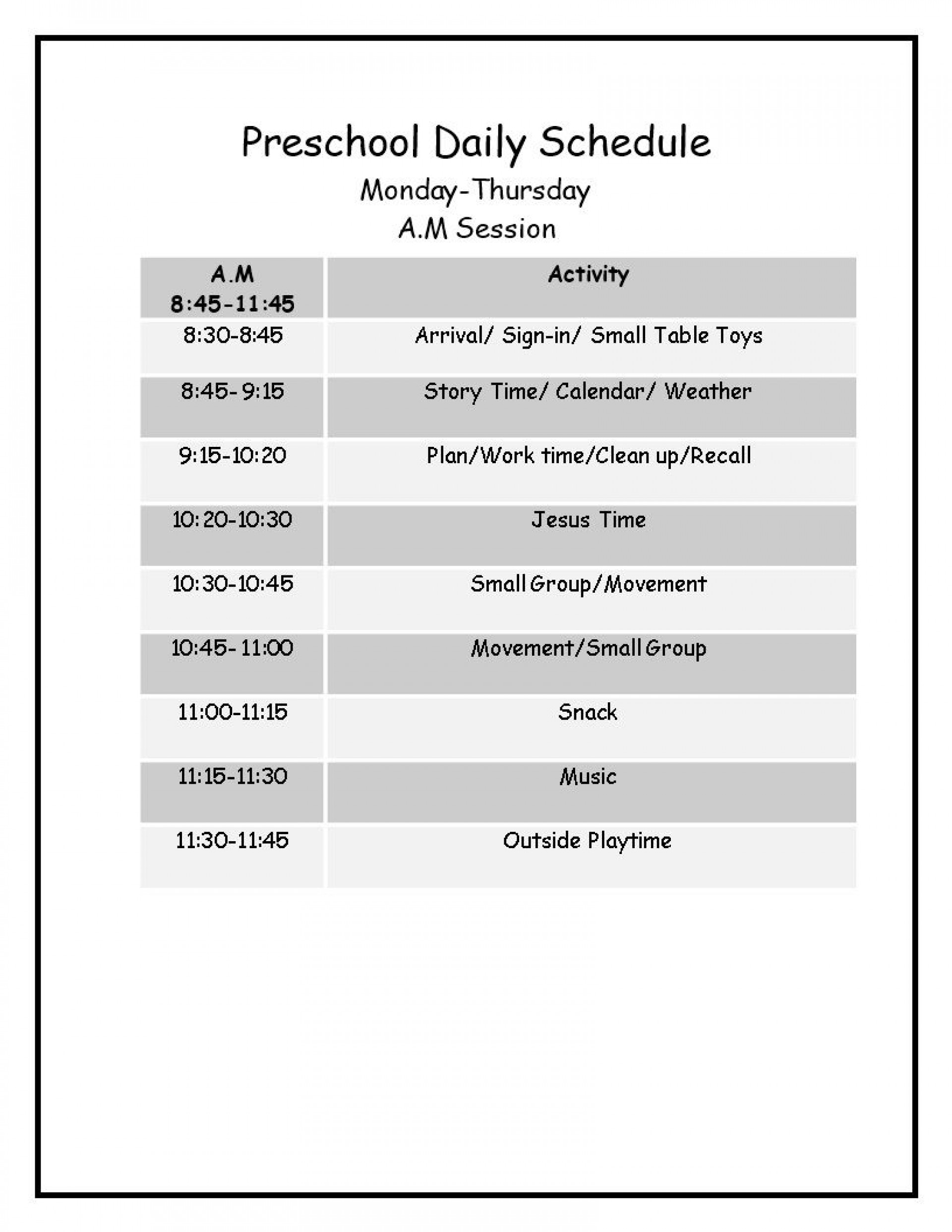 007 Incredible Preschool Daily Schedule Template Highest Clarity  Planner Routine Plan1920