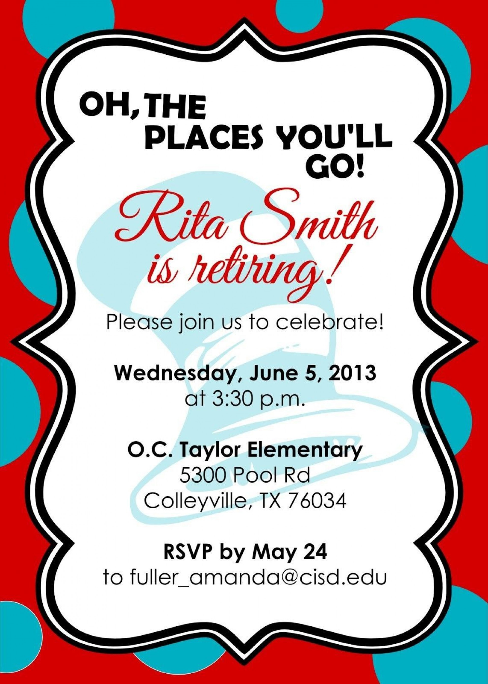 007 Incredible Retirement Party Invite Template Word Free Picture 1920