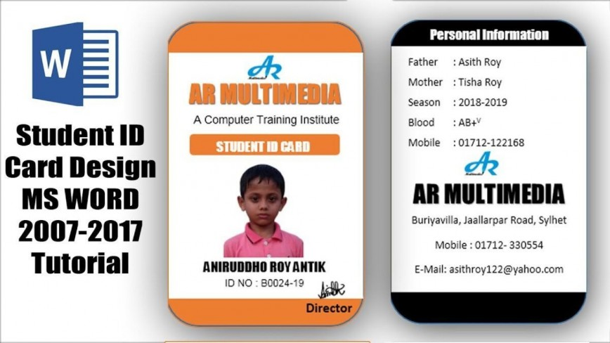 007 Incredible Student Id Card Template Inspiration  Free Psd Download Word School868