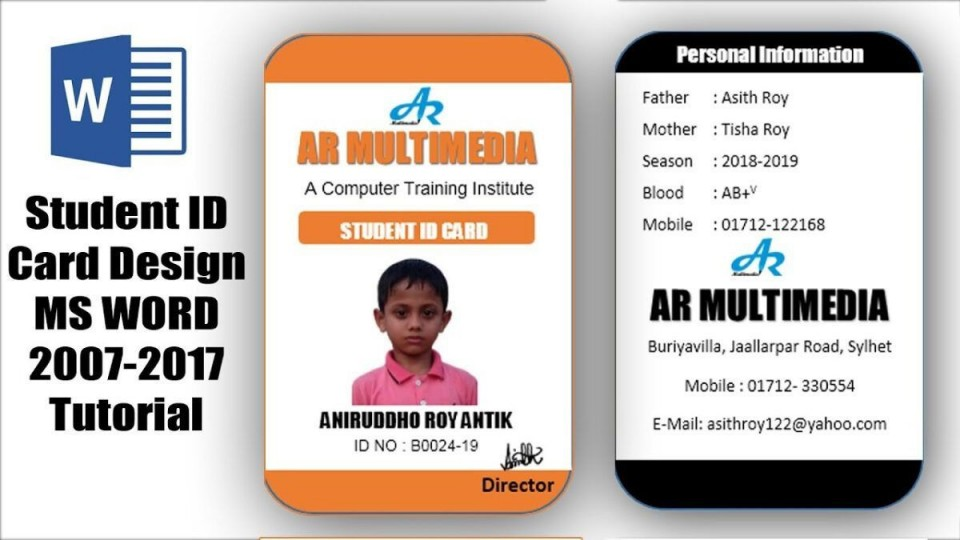 007 Incredible Student Id Card Template Inspiration  Free Psd Download Word School960