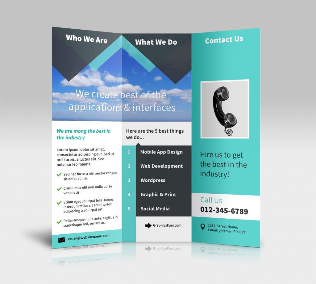 007 Incredible Three Fold Brochure Template Psd Sample  Free 3 A4 Tri DownloadLarge