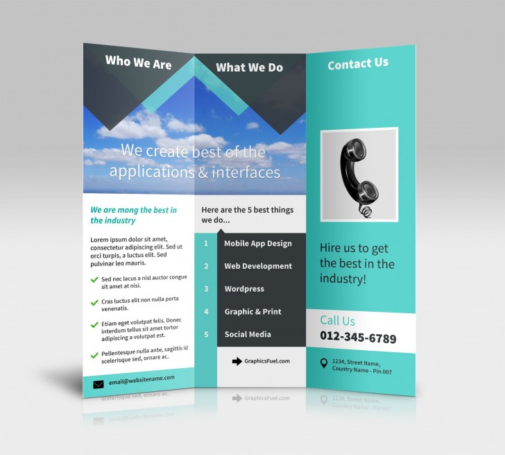 007 Incredible Three Fold Brochure Template Psd Sample  Free 3 A4 Tri Download728