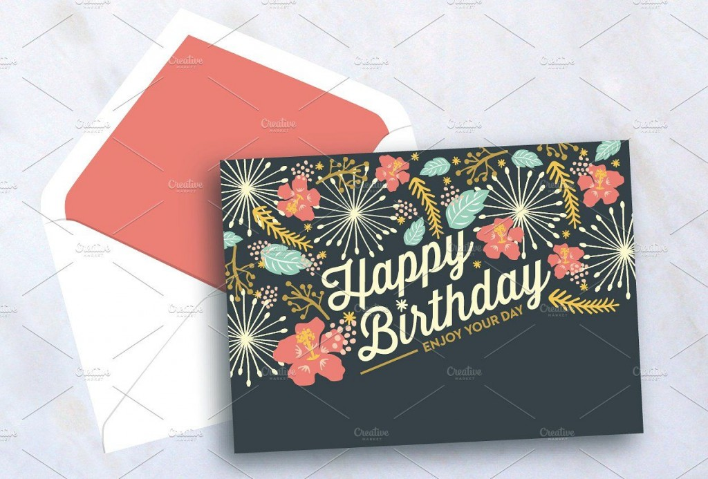 007 Magnificent Birthday Card Template Photoshop Concept  Greeting Format 4x6 FreeLarge