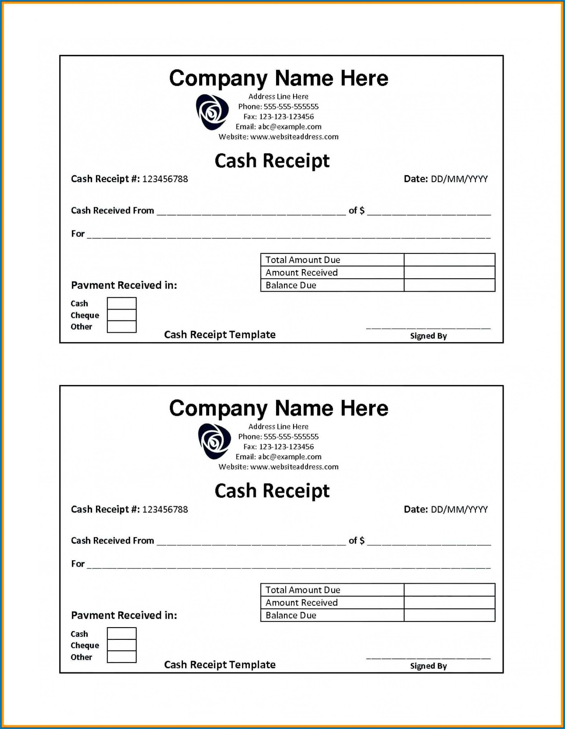 007 Magnificent Cash Receipt Template Word High Resolution  Money Sample Format Download Payment1920