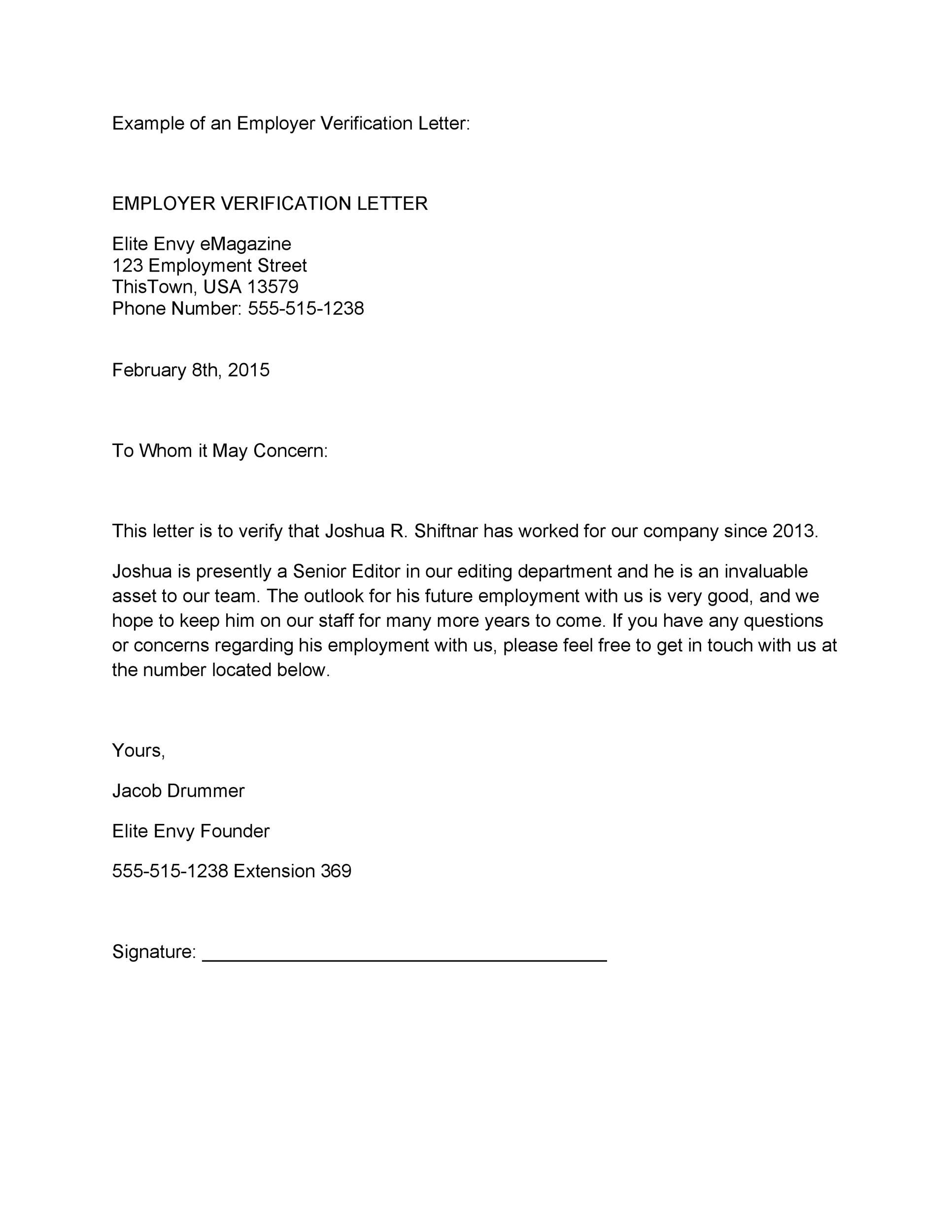 007 Magnificent Employment Verification Letter Template Word Idea  South AfricaFull