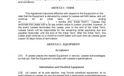 007 Magnificent Equipment Lease Contract Template Free Photo  Agreement Word