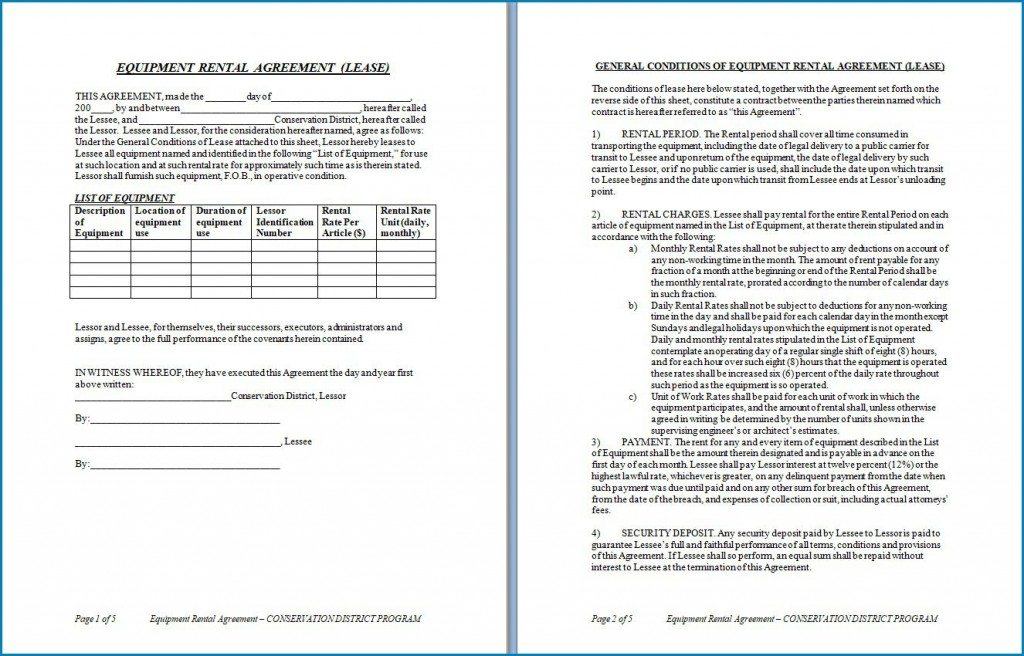 007 Magnificent Equipment Rental Agreement Template High Resolution  Canada Free South Africa PdfLarge