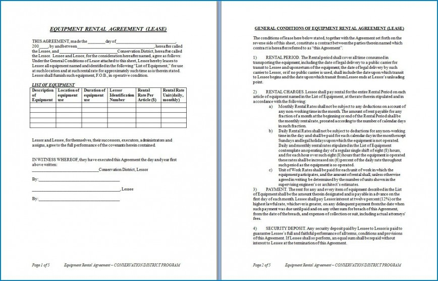 007 Magnificent Equipment Rental Agreement Template High Resolution  Doc Free Australia Word