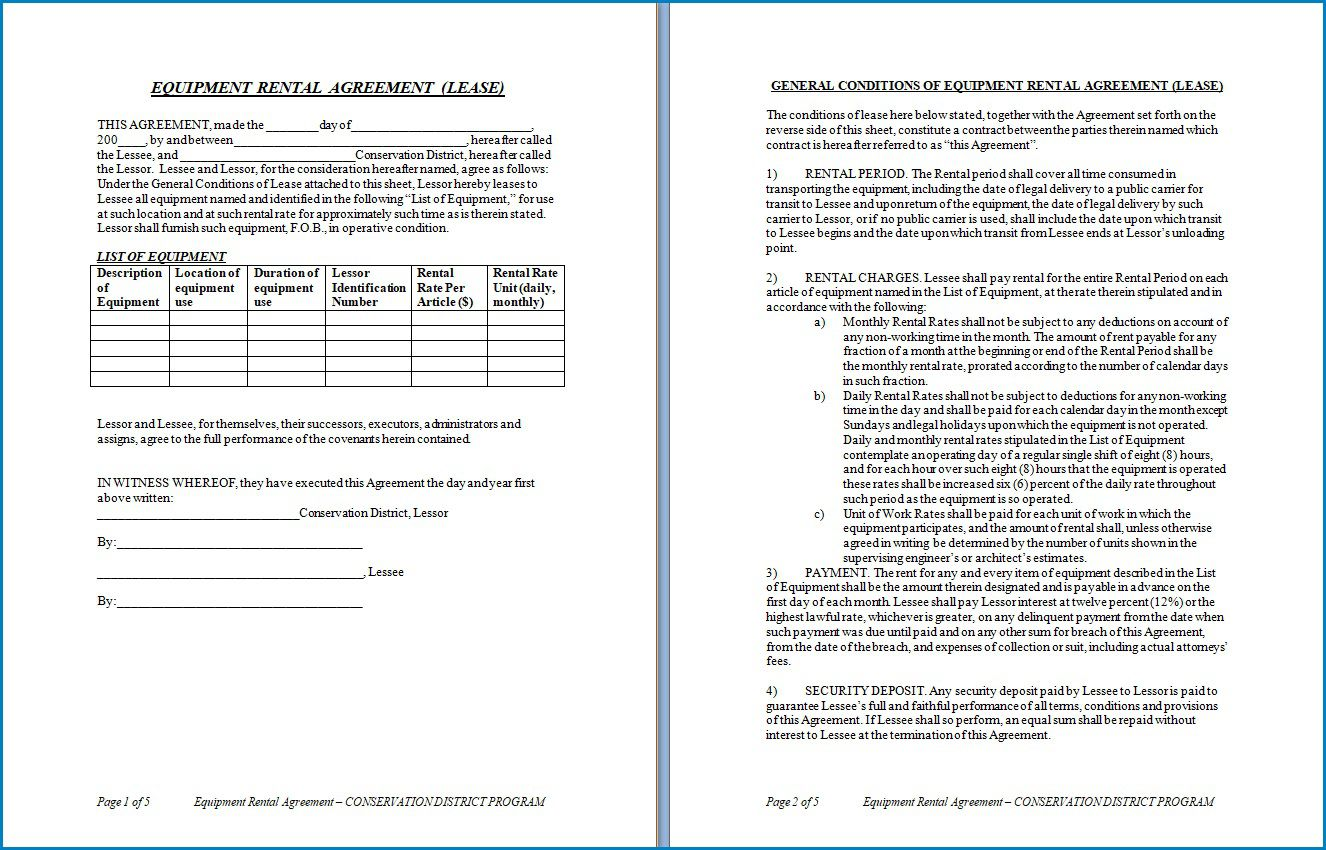007 Magnificent Equipment Rental Agreement Template High Resolution  Canada Free South Africa PdfFull
